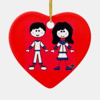 Mädchen-und Jungen-Stock-Leute Keramik Ornament