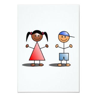 Mädchen-und Jungen-Strichmännchen 8,9 X 12,7 Cm Einladungskarte