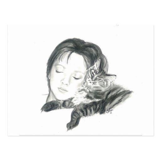 Mädchen und Katze Postkarte