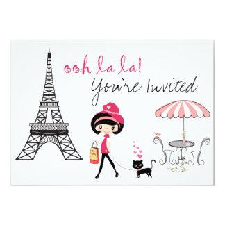 Mädchen-und Katzen-Paris-Geburtstags-Einladung 12,7 X 17,8 Cm Einladungskarte