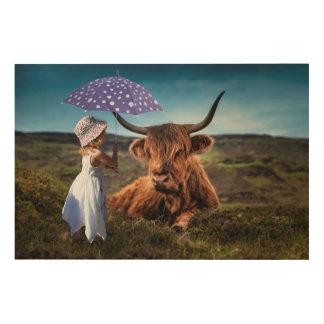 Mädchen und Kuh Holzdruck