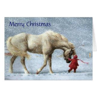 Mädchen-und Pferdeweihnachtskarte Karte