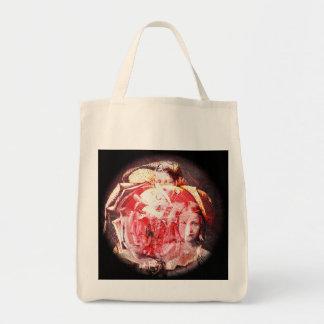 Mädchen-und Rosen-Digital-Collage eine Taschen-Tas Einkaufstasche