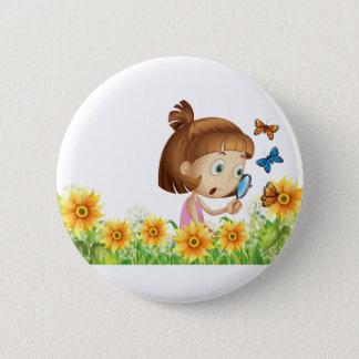 Mädchen und Schmetterling Runder Button 5,1 Cm