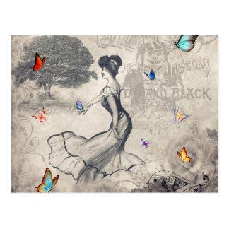 Mädchen und Schmetterlingspostkarte Postkarte