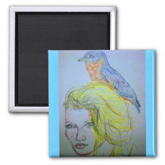 Mädchen und Vogel Quadratischer Magnet