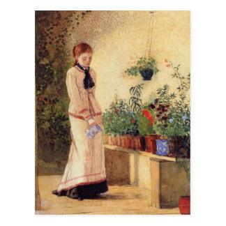 Mädchen-wässernPflanzen durch Winslow Homer Postkarte