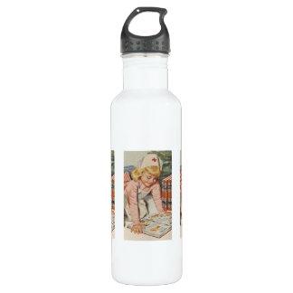 Mädchen, welches die Krankenschwester - Retro Trinkflasche