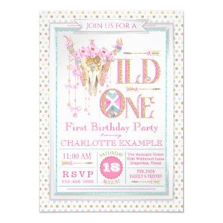 Mädchen-wilde erste Geburtstags-Einladung Karte