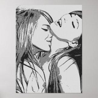 Mädchen wilde, sexy Lesben gegangen, die BW küssen Poster