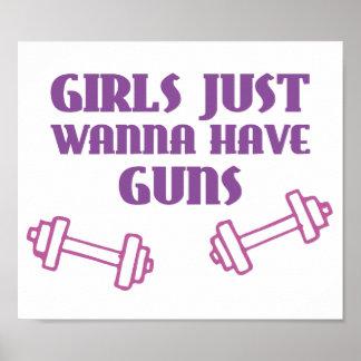 Mädchen wollen gerade, um Gewehre zu haben Poster