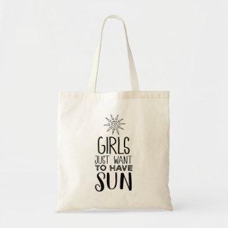 Mädchen wollen gerade, um Sonne zu haben! Tragetasche