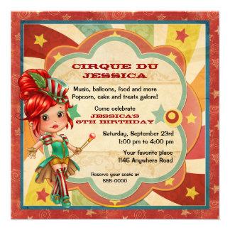 Mädchen-Zirkus-Geburtstag Individuelle Einladungskarte