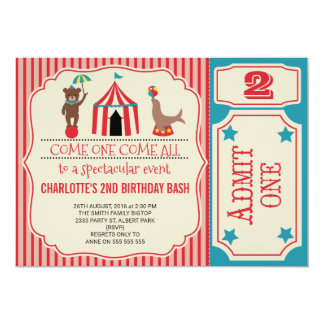 Mädchen-Zirkus-Karten-Geburtstags-Party Einladung