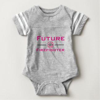 Mädchen-zukünftiger Feuerwehrmann-Säuglings-T - Baby Strampler