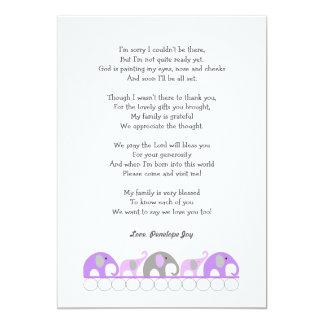 Mädchenelefant-Babyparty danken Ihnen, mit Gedicht 12,7 X 17,8 Cm Einladungskarte