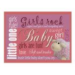 Mädchenfelsen-Babypartypostkarte Postkarte
