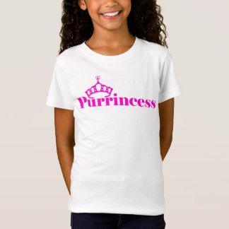 Mädchenniedliches Kitty-Wortspiel mit lila T-Shirt