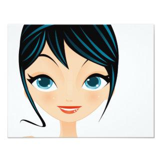 Mädchenporträt 10,8 X 14 Cm Einladungskarte