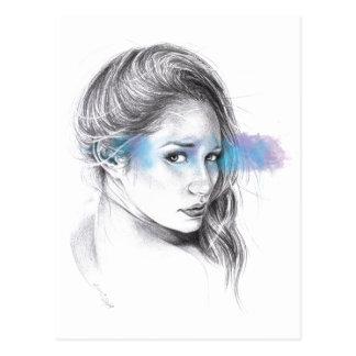 Mädchenporträtbleistift-Kunst Postkarte
