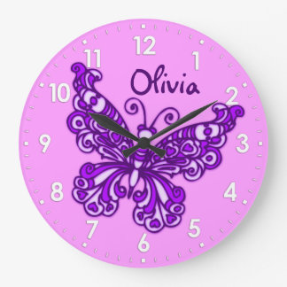 Mädchenraumnamen-Wanduhr des Schmetterlinges lila Uhr