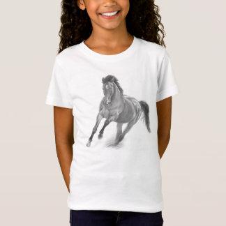 Mädchenshirt mit wildem Pferd (gezeichnet) T-Shirt