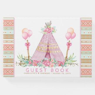 Mädchenstammes- Teepee-Geburtstags-Party-Gast-Buch Gästebuch