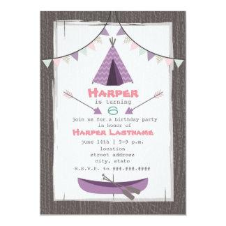 Mädchentipi-Geburtstags-Party Einladungs-Rosa + 12,7 X 17,8 Cm Einladungskarte