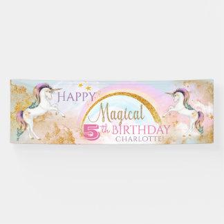 Mädchenunicorn-Geburtstags-Party-Fahnen Banner