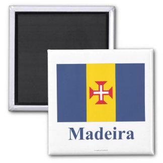 Madeira-Flagge mit Namen Quadratischer Magnet