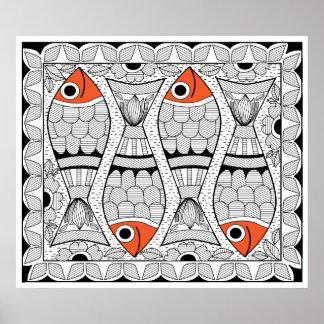 Madhubani 4 Fische Poster