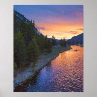 Madison-Fluss-Sonnenuntergang Poster
