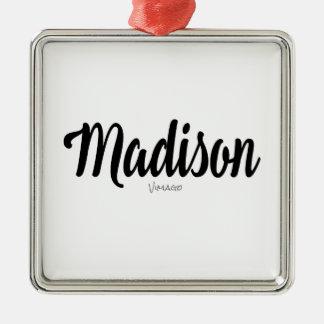 Madison-Namenspersonalisiertes durch VIMAGO Silbernes Ornament