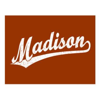 Madison-Skriptlogo im Weiß beunruhigt Postkarte