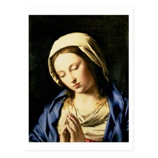 Madonna am Gebet (Öl auf Leinwand) Postkarte