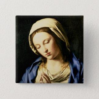 Madonna am Gebet (Öl auf Leinwand) Quadratischer Button 5,1 Cm