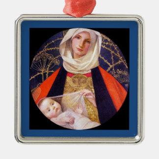 Madonna, das Kind hält Silbernes Ornament