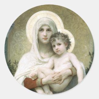 Madonna der Rosen Runder Aufkleber