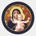 Madonna durch W. Bouguereau. Runder Aufkleber