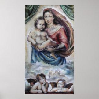 Madonna Jesus child angel print druck poster