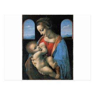 Madonna Litta durch Leonardo da Vinci C. 1490-1491 Postkarte