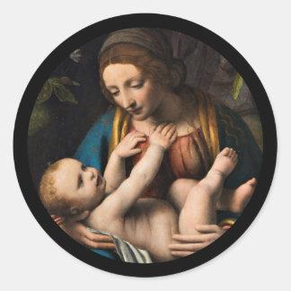 Madonna-MED Kristusbarnet Runder Aufkleber