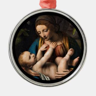 Madonna-MED Kristusbarnet Silbernes Ornament