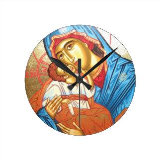 Madonna mit byzantinischem religiösem Ikonengold Uhr