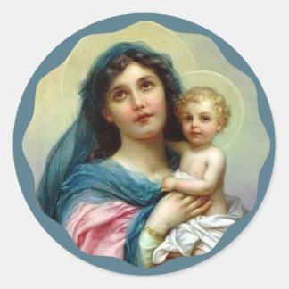 Madonna segnete Mary mit Baby Jesus Runder Aufkleber