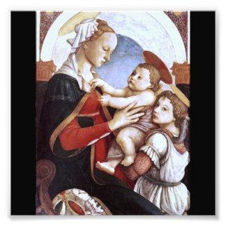 Madonna und das Kind mit einem Engel ist eine Fotodruck