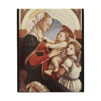 Madonna und das Kind mit einem Engel ist eine Holzleinwand