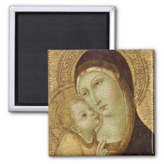 Madonna und Kind 2 Quadratischer Magnet