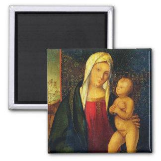 Madonna und Kind 3 Quadratischer Magnet