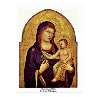 Madonna und Kind durch Giotto Di Bondone Postkarte